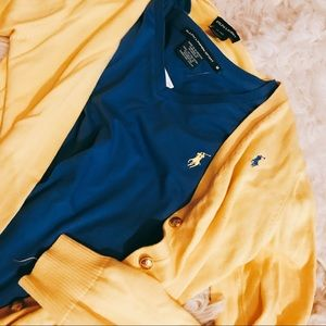 Ralph Lauren yellow cardigan with blue emblem